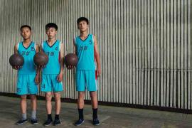 #45. (From L-R) RI BOM, 15, RYANG IL BOM, 15, RI SONG JIN, 15, Basketball Students, Kaesong Schoolchildren's Palace.