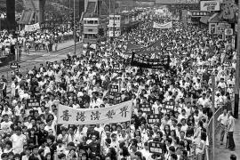 Hong Kong, June 3, 1990 Demonstration in support of TianAnmen protesters on the first anniversary of the massacre in Beijing