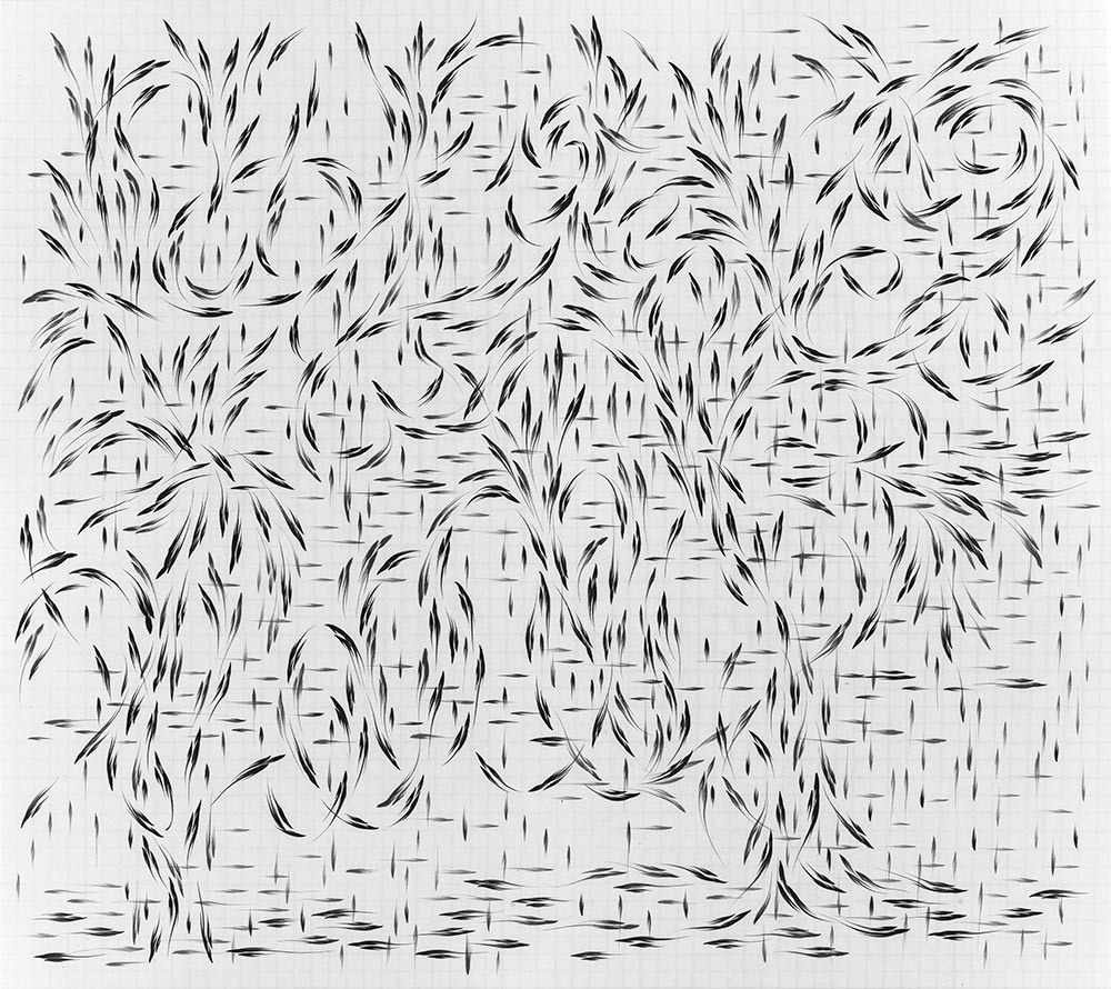 Huang Zhiyang, Three Marks Movement No.1309, 140 x 160 cm, Ink And Mineral Pigment On Silk, 2013